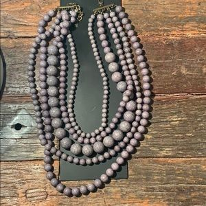 BaubleBar Gray Beaded Multi-Row Statement Necklace